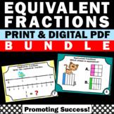Equivalent Fractions 3rd Grade Math Review BUNDLE on a Number Line & Models