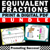 Equivalent Fractions 3rd Grade, Fractions on a Number Line Task Cards Pictures