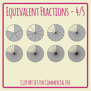 Equivalent Fractions - 4/5 - Four Fifths Math Clip Art Set Commercial Use