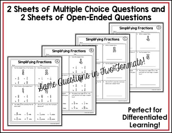Simplifying Fractions Worksheets