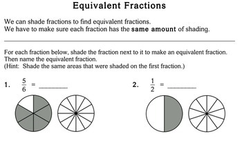 Equivalent Fractions, 4th grade - Individualized Math - worksheets