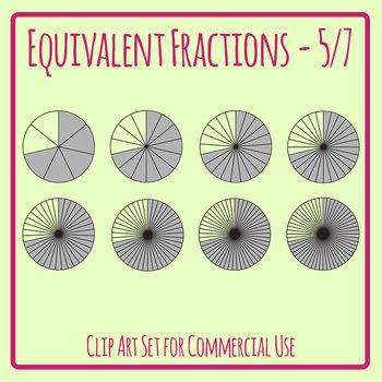 Equivalent Fractions - 5/7 - Four Sevenths Math Clip Art Set Commercial Use