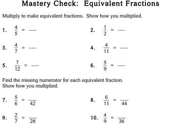 Equivalent Fractions, 5th / 6th grade - Individualized Math - worksheets