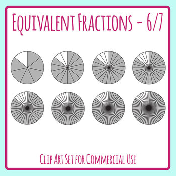 Equivalent Fractions - 6/7 - One Third Math Clip Art Set Commercial Use