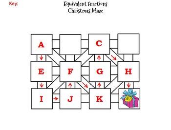 Equivalent Fractions Activity: Christmas Math Maze