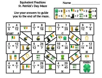 Equivalent Fractions Activity: St. Patrick's Day Math Maze
