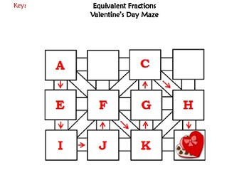 Equivalent Fractions Activity: Valentine's Day Math Maze