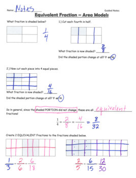 Equivalent Fractions Area Models GUIDED NOTES
