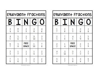 photo about Equivalent Fractions Games Printable named Very similar Fractions Bingo
