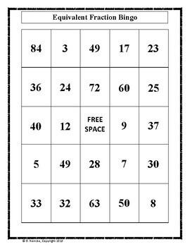 Equivalent Fractions Bingo (30 pre-made boards)