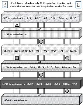 Equivalent Fractions Blocks