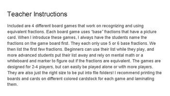 Equivalent Fractions - Board/File Folder Games