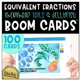 Equivalent Fractions Boom Cards™ Digital Task Cards Mermaid Tails and Jellyfish