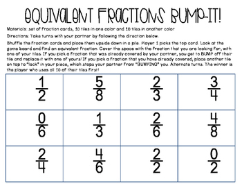 Equivalent Fractions Bump It