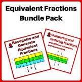 Fractions Worksheets Bundle 3rd, 4th Grade - using Equival