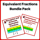 Fractions Worksheets Bundle 3rd, 4th Grade - using Equival