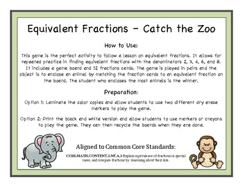 Equivalent Fractions - Catch the Zoo