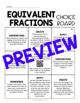 Equivalent Fractions Choice Board - Editable
