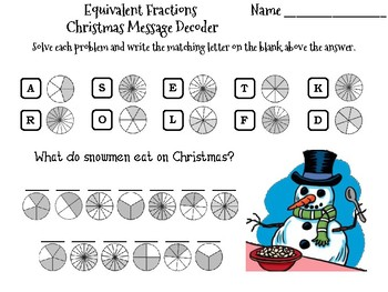 Equivalent Fractions Christmas Math Activity: Message Decoder