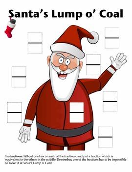 Equivalent Fractions: Christmas & Santa's Lump o' Coal!