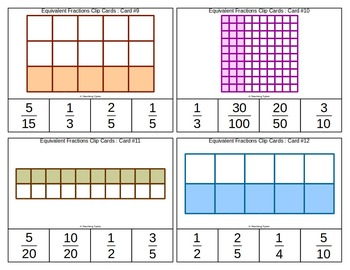 Equivalent Fractions Clip Cards