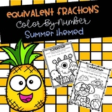 Equivalent Fractions Color-By-Number Summer Themed