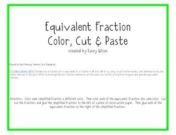 Equivalent Fractions Color, Cut & Paste Common Core Aligned