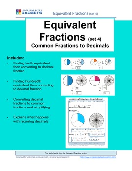 Equivalent Fractions (set 4) Common Fractions to Decimals