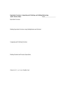Equivalent Fractions, Comparing & Ordering, and Decimals QUIZ