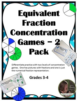 Equivalent Fractions Concentration Games - 2 Pack