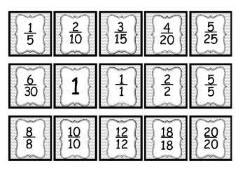 Equivalent Fractions Concentration/Matching Game  4.NF.A.1 &  4.NF.A.2