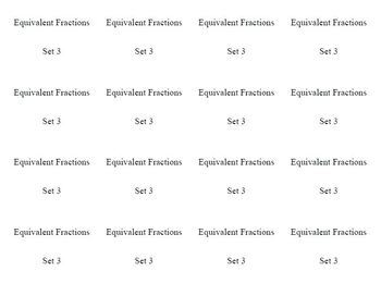 Equivalent Fractions Concentration / Memory Game