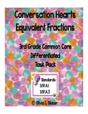 Equivalent Fractions Conversation Hearts Differentiated Task Pack - 3rd Gr. CCSS
