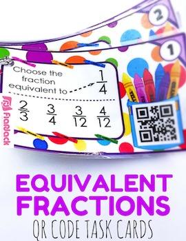 Equivalent Fractions Crayons QR Code Fun - 4.NF.1