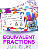 Equivalent Fractions Task Cards with QR Codes - 4.NF.1
