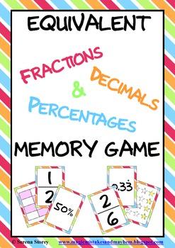 Equivalent Fractions, Decimals & Percentages Memory Game
