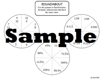 Equivalent Fractions, Decimals, Percents Roundabout Interactive Math Activity