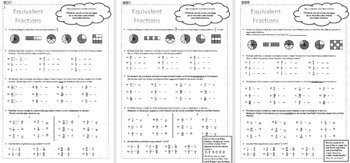 Equivalent Fractions - Differentiated Worksheets