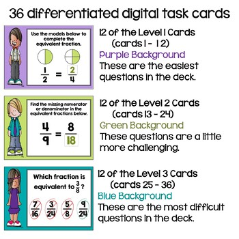 Equivalent Fractions Digital Task Cards - BOOM Cards