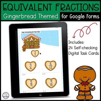 Equivalent Fractions   Digital Task Cards for use with Google Classroom  
