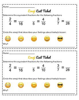 Equivalent Fractions Emoji Exit Ticket