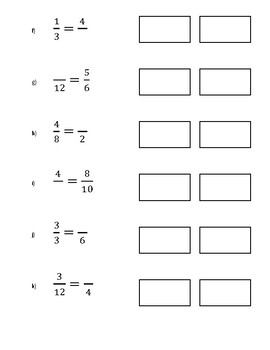 Equivalent Fractions Equations