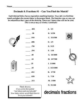 Equivalent Fractions Equivalent Decimals Match