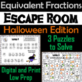 Equivalent Fractions Escape Room Halloween Math Activity