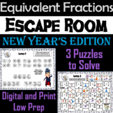 Equivalent Fractions Escape Room New Year's Math Activity