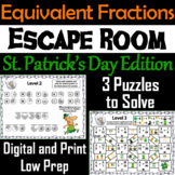 Equivalent Fractions Escape Room St. Patrick's Day Math Activity