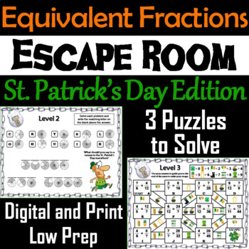 Equivalent Fractions Escape Room St. Patrick's Day Math Activity