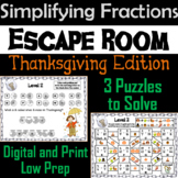 Equivalent Fractions Escape Room Thanksgiving Math Activity