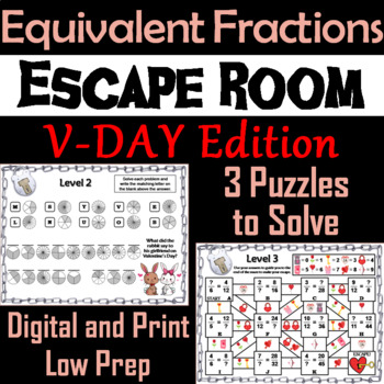 Equivalent Fractions Escape Room Valentine's Day Math Activity