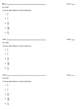Equivalent Fractions Exit Slip EDITABLE